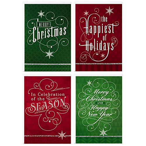 Image Arts Boxed Christmas Cards Assortment, Elegant Lettering (4 Designs, 24 Cards with Envelopes) (Card Greeting Christmas For Messages)