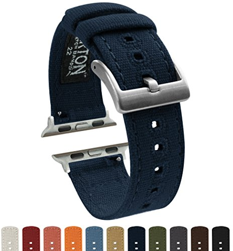 Barton Canvas Watch Bands - Choose Color - Compatible with All Apple Watches - 38mm, 40mm, 42mm, 44mm - Navy Blue 38mm