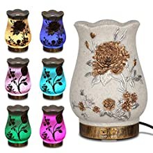 Sheoolor Essential Oil Diffuser, 200ml Natural Sandstone Cool Mist Humidifier, Aromatherapy Diffuser with Waterless Auto Shut-Off, Quiet Vintage 7 Colors LED Lights Changing for Home, Office, Yoga