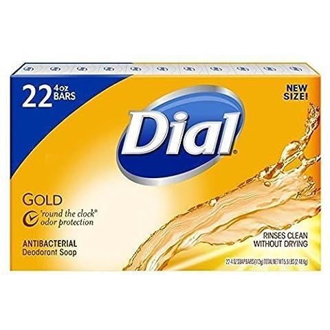 Dial Antibacterial Deodorant Gold Bar Soap, 4 Ounce (Pack of 22) Net Wt 5.5 LBS (Dial Bar Gold)