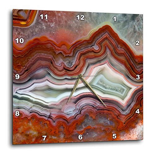 3D Rose Mexican Crazy Lace Agate Wall Clock, 15