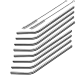 iZEEKER Bent 8 Stainless Steel Straws Set . Milk,Smoothie,Coffee,Cheese Straw.For Yeti 20 oz Tumble cups.Offer Two Cleaning Brushes .Non-Toxic and Eco Friendly