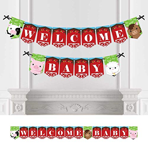 (Big Dot of Happiness Farm Animals - Baby Shower Bunting Banner - Barnyard Party Decorations - Welcome Baby)