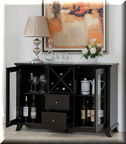 Cappuccino Multi-Storage Dining Buffet. This Combo of Cabinets, Drawers and Wine Bottle Slots Ensures You Have Enough Space In Your Dining Room Area For Your Favorite Plates Or Spirits. by Furniture Of America