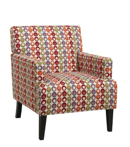 AVE SIX Carrington Arm Chair with Espresso Finish Wood Legs, Flair Confetti Fabric