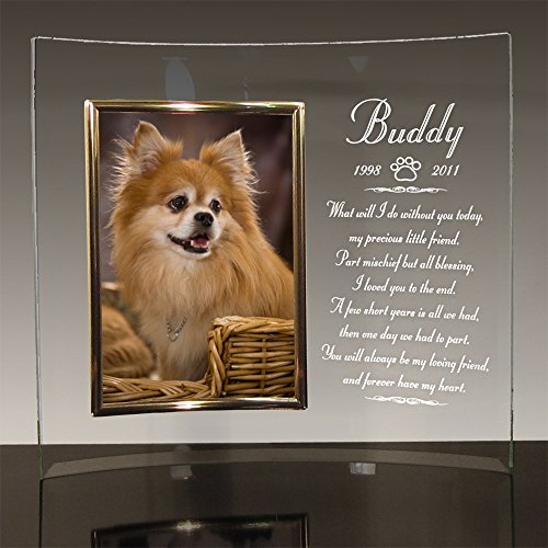 "Dog Memorial Frame - Custom Personalized with Dog's Name - 10"" X 12"" Curved Glass holds 5x7 Photo with Choice of 6 Poems - Free Customized Sympathy - Glasses Frames Names"