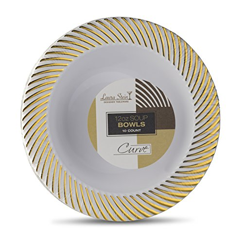 (Laura Stein Designer Tableware Premium Heavyweight 12 Ounce White And Gold Rim Plastic Party & Wedding Soup Bowls Curve Series Disposable Dishes Pack of 10 Bowls)