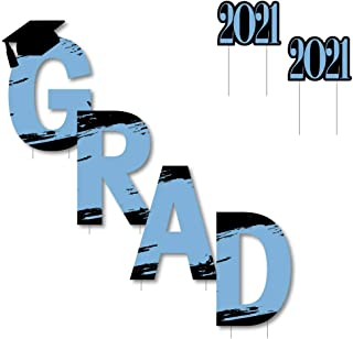 product image for Big Dot of Happiness Light Blue Grad - Best is Yet to Come - Yard Sign Outdoor Lawn Decorations - Light Blue 2021 Graduation Party Yard Signs - Grad