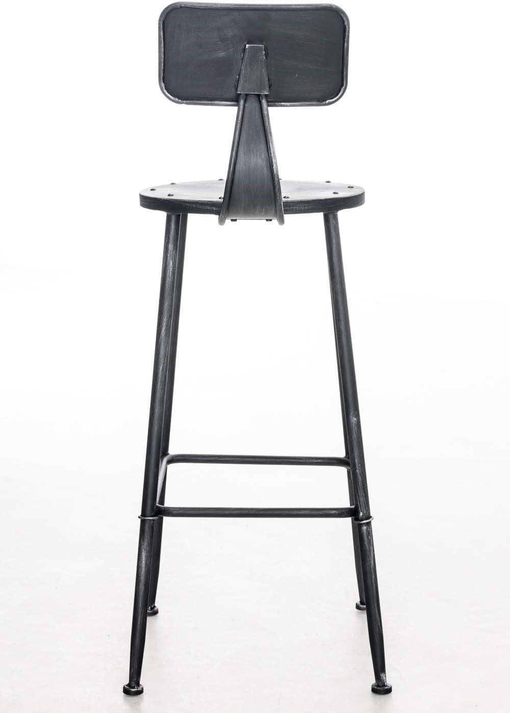 Sedia Sgabello Stile Industriale Altezza Seduta 75 cm I Sgabello con Schienale e Poggiapiedi 4 Gambe I Sgabello Bar o Cucina Design Urban argento antico CLP Sgabello Alto SOHO in Metallo