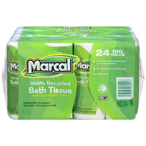 Marcal #06024 100% Recycled, Green Seal Certified Toilet Paper, 2-Ply, White, 168 sheets per roll, 4 rolls per pack, 6 packs per case