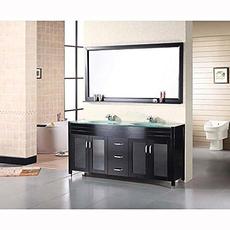 60 in double sink vanity. Design Element DEC016A Waterfall 60 quot  Double Sink Vanity Set in Amazon com