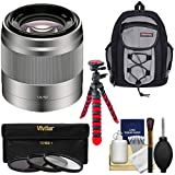 Sony Alpha E-Mount 50mm f/1.8 OSS Lens (Silver) with Backpack + 3 Filters + Flex Tripod Kit for A7, A7R, A7S Mark II, A5100, A6000, A6300 Cameras