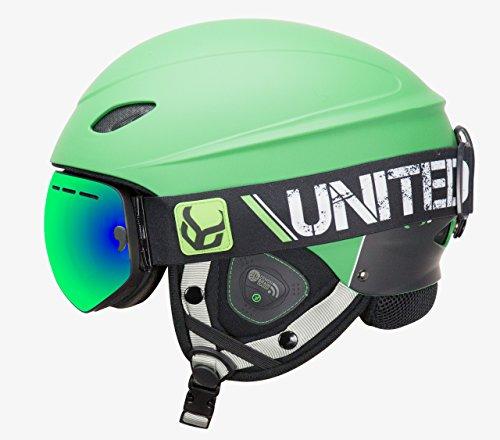 Phantom Helmet with Audio and Snow Supra Goggle (Green, Small)