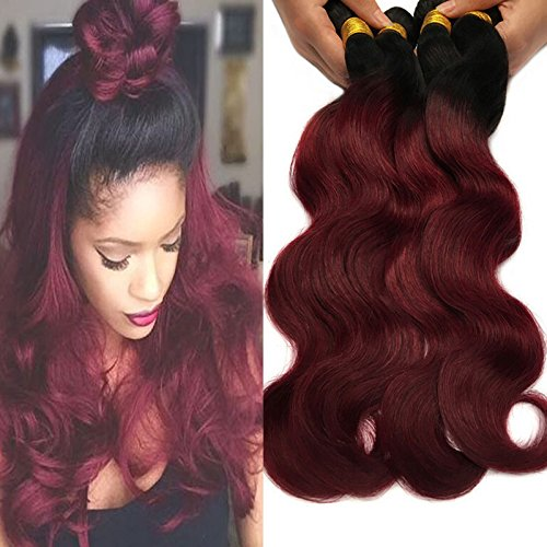 Black Rose Hair Two Tone Ombre Hair Extensions Weaves 7A Peruvian Virgin Hair Body Wave Human Hair 4 Bundles 1B/99J Black+Burgundy 100g4pcs (16