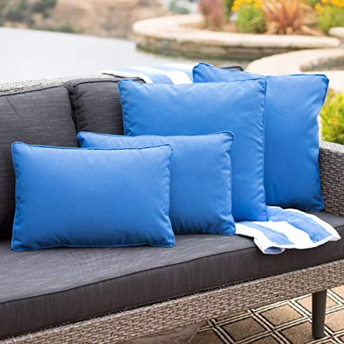 GDFStudio Corona Outdoor Patio Water Resistant Pillow Set 4, Blue