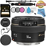 Canon EF 50mm f/1.4 USM Lens 2515A003 + 58mm 3 Piece Filter Kit + 64GB SDXC Card + Lens Pen Cleaner + Fibercloth + Lens Capkeeper + Deluxe 70 Monopod + Deluxe Cleaning Kit Bundle