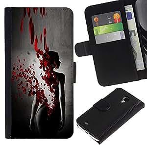 KLONGSHOP / Tirón de la caja Cartera de cuero con ranuras para tarjetas - Blood Rose Petal Dress Black Woman - Samsung Galaxy S4 Mini i9190 MINI VERSION!