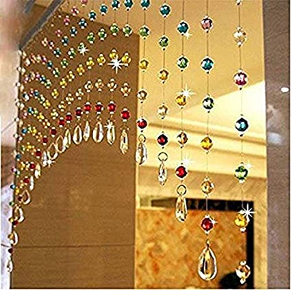 Discount4product Modern 10 Strings Acrylic String Curtain - 4ft, Multicolour