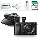 Sony Alpha a6000 ILCE6000 Interchangeable Lens Camera with 16-50mm Power Zoom Lens (Black) + 64GB Starter Accessory Bundle - International Version