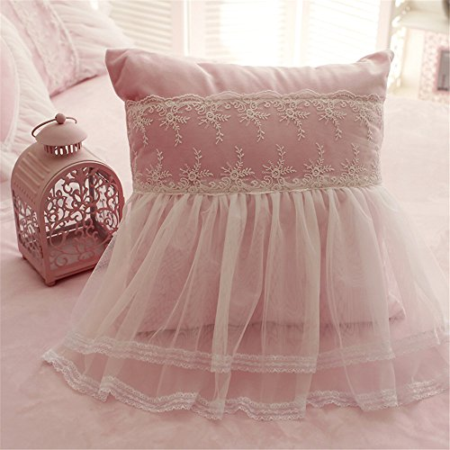 Abreeze Girls Bedroom Throw Pillows Decorative Bed Pillows,3 Pieces(Heart Pillow+Square Pillow+Candy Pillow)-Pink,CoralVelvet