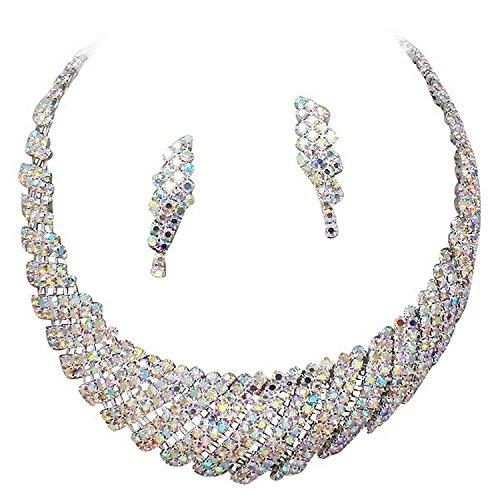 (CC, affordable wedding jewelry Elegant Women's Sparkly AB Iridescent Rhinestone Bridal Choker Statement Silver Necklace Earring Set)