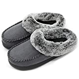 ULTRAIDEAS Women's Comfort Micro Suede Memory Foam Slippers Non Skid House Shoes w/Faux Fur Collar (Small / 5-6 B(M) US