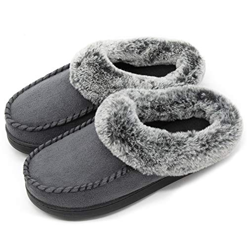ULTRAIDEAS Women's Comfort Micro Suede Memory Foam Slippers Non Skid House Shoes w/Faux Fur Collar (Large / 9-10 B(M) US, Dark Gray)
