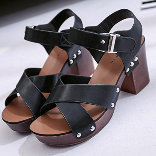 Summer Jamicy Black Women Leather Sandals High Heels Fashion Casual 676WqdcE