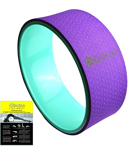 """UPC 704342119948, GreEco Yoga Wheel Pilates Roller-- Extra Strength Prop in Yoga Backbends & Poses, Back Opener, Relieve Back aches, 13"""" x 5"""", Purple/Green"""