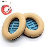 misodiko Replacement Earpads Foam Ear Pad Cushion Kit for Bose QuietComfort 35 25 2 15, QC35, QC25, QC2, QC15, SoundTrue, AE2, AE2i, AE2w Headphones with 3.5mm Audio Cable (1-Pair, Brown)