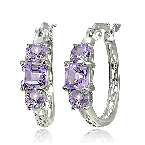 (Sterling Silver Amethyst Three-Stone Filigree Hoop Earrings)