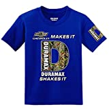 Chevy Makes it, Duramax Shakes it Camo Logo with Sleeve T-shirt, Medium Blue