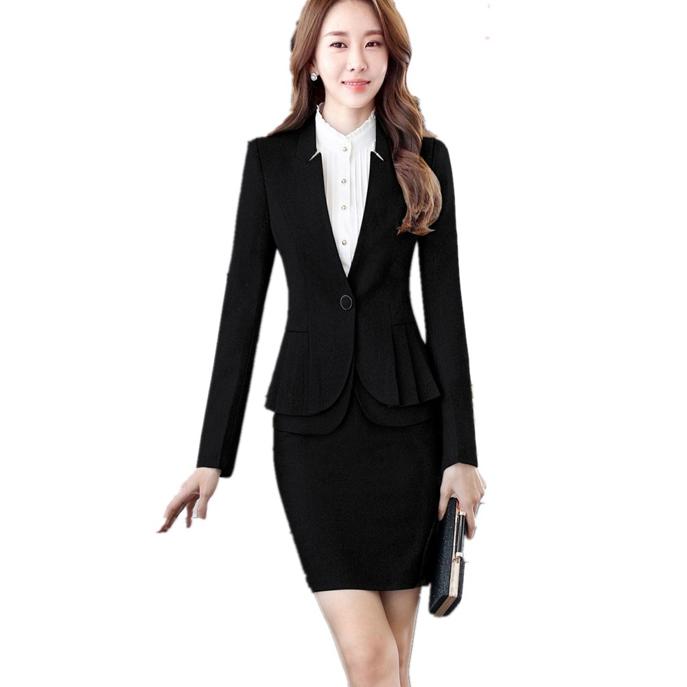 Black Women's 2 Piece Business Blazer and Skirt Office Suits Set OL Work Suit Plus Size