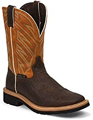 Justin Original Work Mens Stampede Square Steel Toe Work Boot