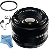 Fujifilm 35mm f/1.4 XF R Lens 16240755 + 52mm UV Filter + Fibercloth + Lens Capkeeper Bundle