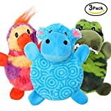 CCCompany Dog Squeaky Toys for Aggressive Chewers, Stuffed Animal Dog Toys with Squeaky Disc Inside Full Body, Tough Plush Chew Toys 3 Pack