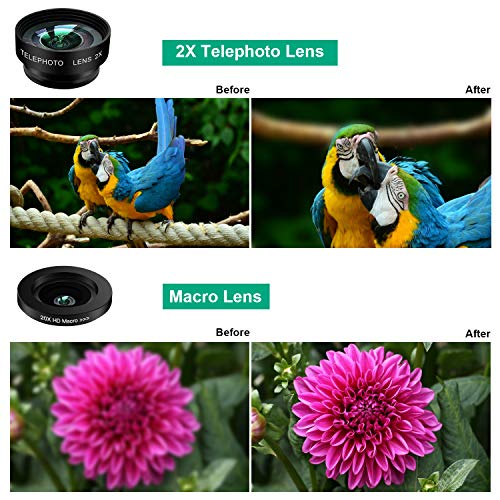 Phone Camera Lens Kit,9 in 1 Kaiess Super Wide Angle+ Macro+ Fisheye Lens +Telephoto+ CPL+Kaleidoscope+Starburst Lens for iPhone X/8/7/6s/6 Plus, Samsung,Android Smartphones(Matte Black) by Kaiess (Image #4)