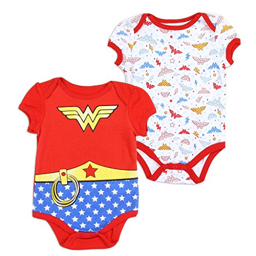 Wonder Woman DC Comics Baby Girls Creeper 2-Pack, Red (0/3M)