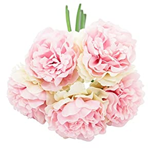 EBTOYS Artificial Silk Peony Flower Bouquet Wedding Party Home Decor, Pack of 5-Light Pink 25