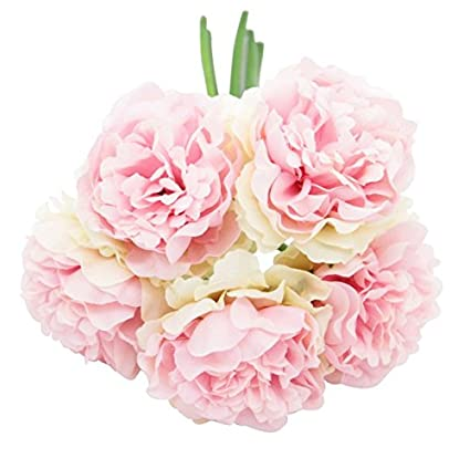 Amazon ebtoys artificial silk peony flower bouquet wedding ebtoys artificial silk peony flower bouquet wedding party home decor pack of 5 light mightylinksfo