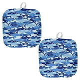 Great White Shark Camo All Over Pot Holder (Set of 2) Multi Standard One Size