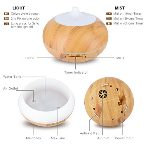 Essential Oil Diffuser, 550ml Wood Grain Multifunctional Ultrasonic Aromatherapy Fragrant Oil Vaporizer Humidifier with Adjustable Mist, 4 Timer Settings, 7 Color LEDs, Waterless Auto Shut-Off by HACME (Image #4)
