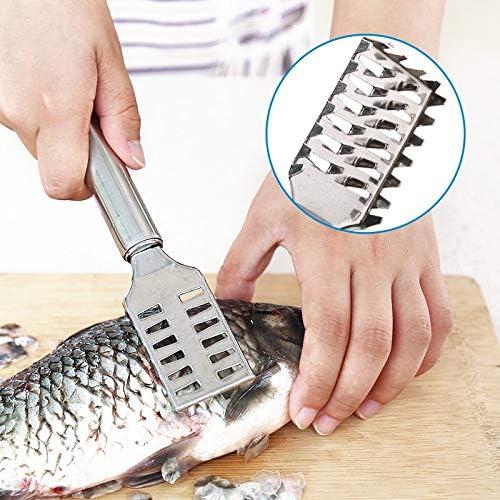 LZDD 1個魚皮ブラシスクレイピング釣りスケールブラシキッチンアクセサリー魚ナイフクリーニングピーラーキッチンガジェット便利なスクレーパー。 (Color : Orange)