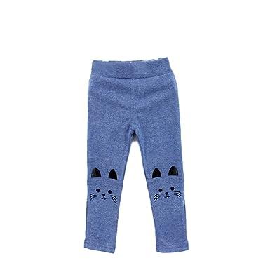 3a7bd3077 BOBORA Toddler Baby Girl Lovely Cat Print Tight Stretch Leggings Pants Blue
