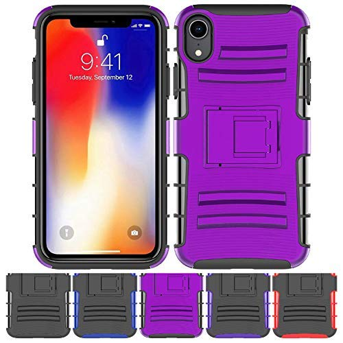 newest 463a9 35e6b Amazon.com: iPhone XR Stand Case, HLCT Rugged Shock Proof Dual-Layer ...