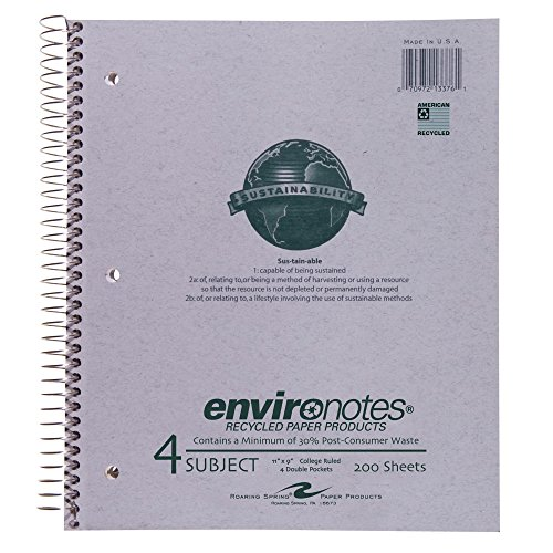 Wirebound 4 Subject Notebook (Roaring Spring Paper Products Recycled Wirebound Notebook, Four Subject, 11 x 9 Inches, 200 Sheets, College Ruled, Grey Covers (13376))