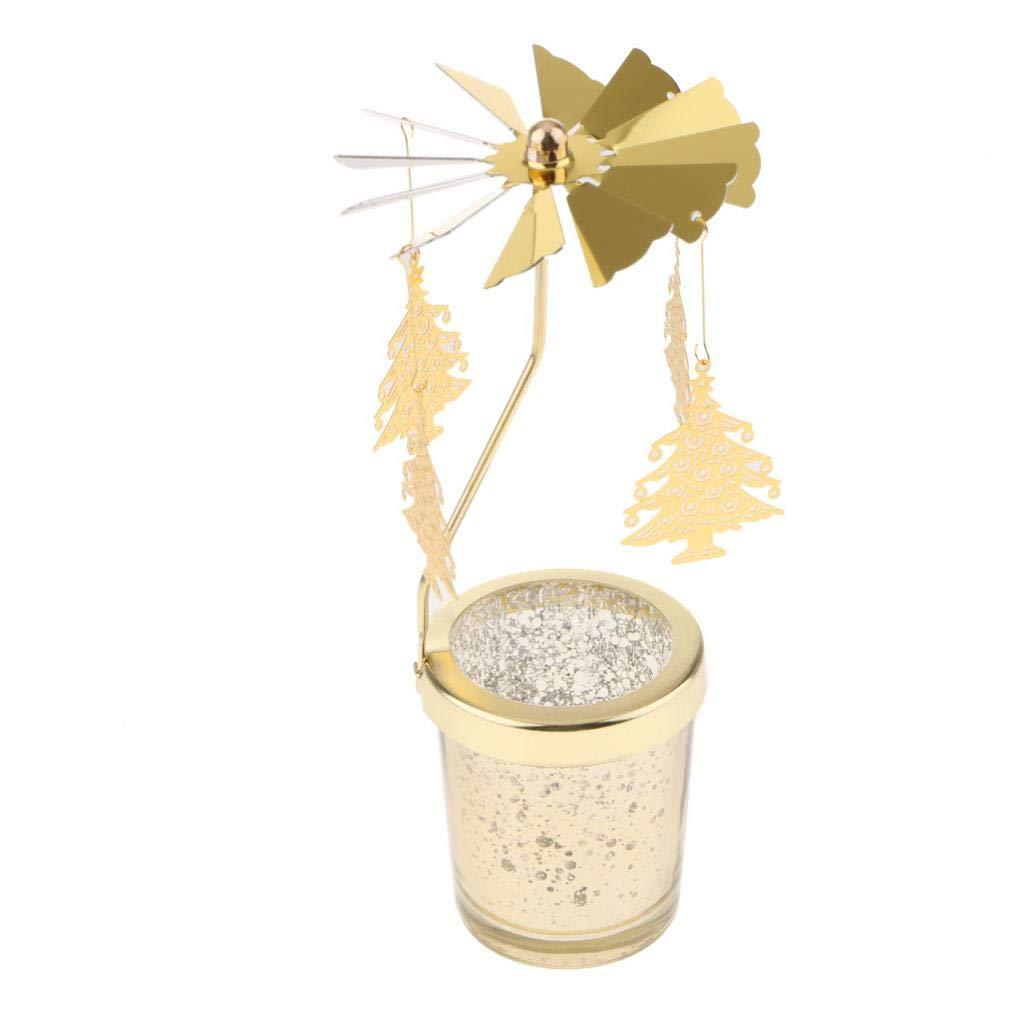 Magideal Sipporto Portacandele Rotante Ornamento Decorazione Matrimonio Sala da Gas Regalo Acciaio Vetro - Albero