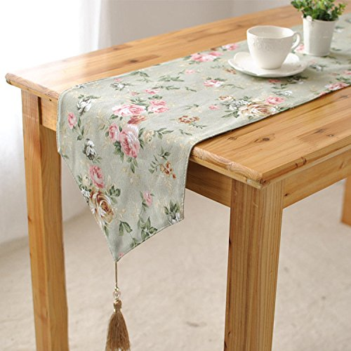 Tablecloth - Rose Cotton Linen Table Runner Desk Cover Heat Insulation Bowl Pad Tableware Mat - Medallion Kitchen Fabric Backyard Rectangle Plastic Protector Wood Dinning - 1PCs