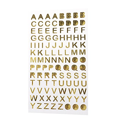 MagiDeal A TO Z ALPHABET LETTERS / 0-9 NUMBERS Sticker, Metallic Gold Decorative Stickers for Scrapbooking, Card Making, Calendars, Arts, Kids DIY Crafts, Album, Diary Decoration - Letter