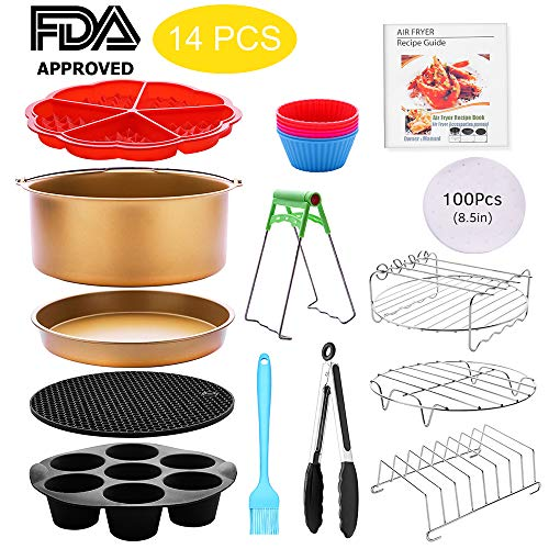 Air Fryer Accessories 14 pcs 8 inch XL Anti-stick with Pizza Pan Cake Barrel Waffle Mold Cupcake Mold and Recipe Cookbook Compatible for Gowise USA Cozyna Airfryer XL 4.2QT – 6.8QT,Luxury Golden